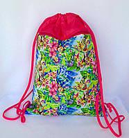 Рюкзак мешок для сменной обуви с карманом на молнии малинового цвета
