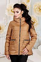 Женская демисезонная рыже-коричневая куртка В-925 Лаке Тон 40 44-58 размер
