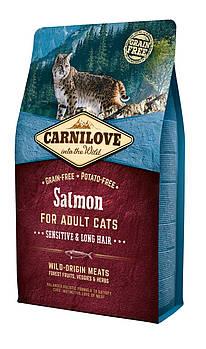 Сухой корм CarniLove Salmon Sensitive & Long Hair для кошек с чувствительной и длинной шерстью, 2 кг