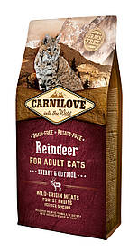 Полнорационный беззерновой корм CarniLove Raindeer для взрослых кошек, 6 кг