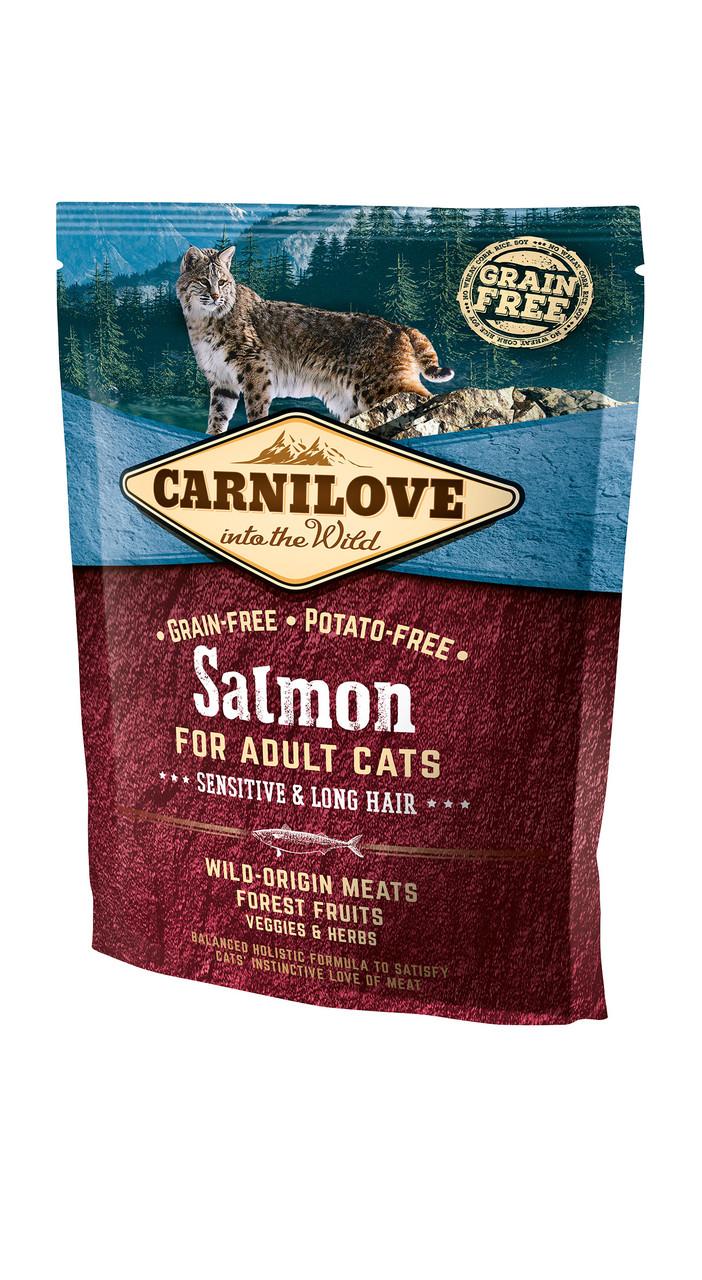 Полнорационный беззерновой корм для кошек CarniLove Salmon Sensitive & Long Hair, 400 г,