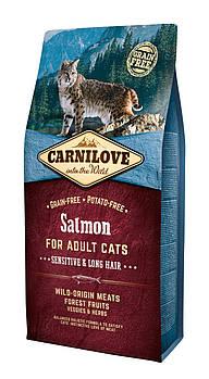 Сухой корм для кошек CarniLove Salmon Sensitive&Long Hair, 6 кг