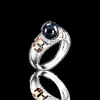 Красивое серебряное кольцо БАГИРА 925 пробы с накладками золота 375 пробы.Серебро с золотой пластиной