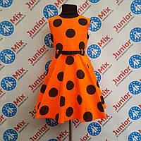 Нарядное платье на девочку в большие горохи под пояс SNEKE ПОЛЬША
