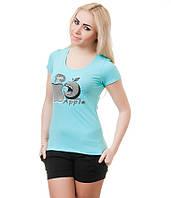 Футболка женская  Яблоко  голубая, фото 1