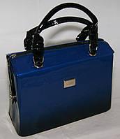Синяя каркасная лаковая сумка B.Elit с переливом