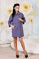 Демисезонное женское серовато-синее пальто  В-1015 Aрт.160416 Тон 20 44-54 размер