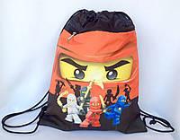 Рюкзак мешок для сменной обуви Нинзяки с карманом на молнии