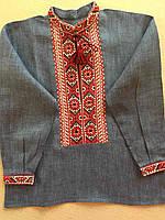 Ляна вишита сорочка для хлопчика на стійку 3-4 роки, фото 1