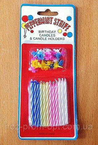 Свечи в торт 24 шт/уп., декоративные парафиновые