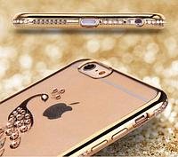 Чехол с Павлином и золотым бампером с камнями для Iphone 5 5S