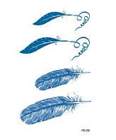 Флеш тату, временная переводная татуировка Перья синие