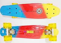 """Скейт Пенни борд Penny board Rainbow - FLASH 22"""" светящиеся колеса Explore оригинал Желтый/Красный/Голубой"""