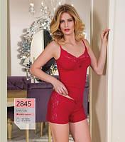 Эффектный комплект майка + шорты, пижамка женская красная.