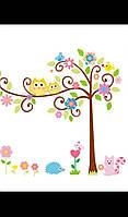 Интерьерная декоративная наклейка совы на дереве.