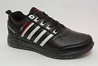 Кроссовки мужские чёрные с белыми полосками  BAYOTA удобные спортивные M003