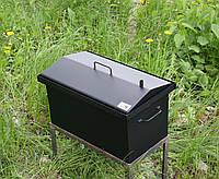 """Коптильня для горячего копчения окрашеная крышка """"Домиком"""" (400х300х310)"""