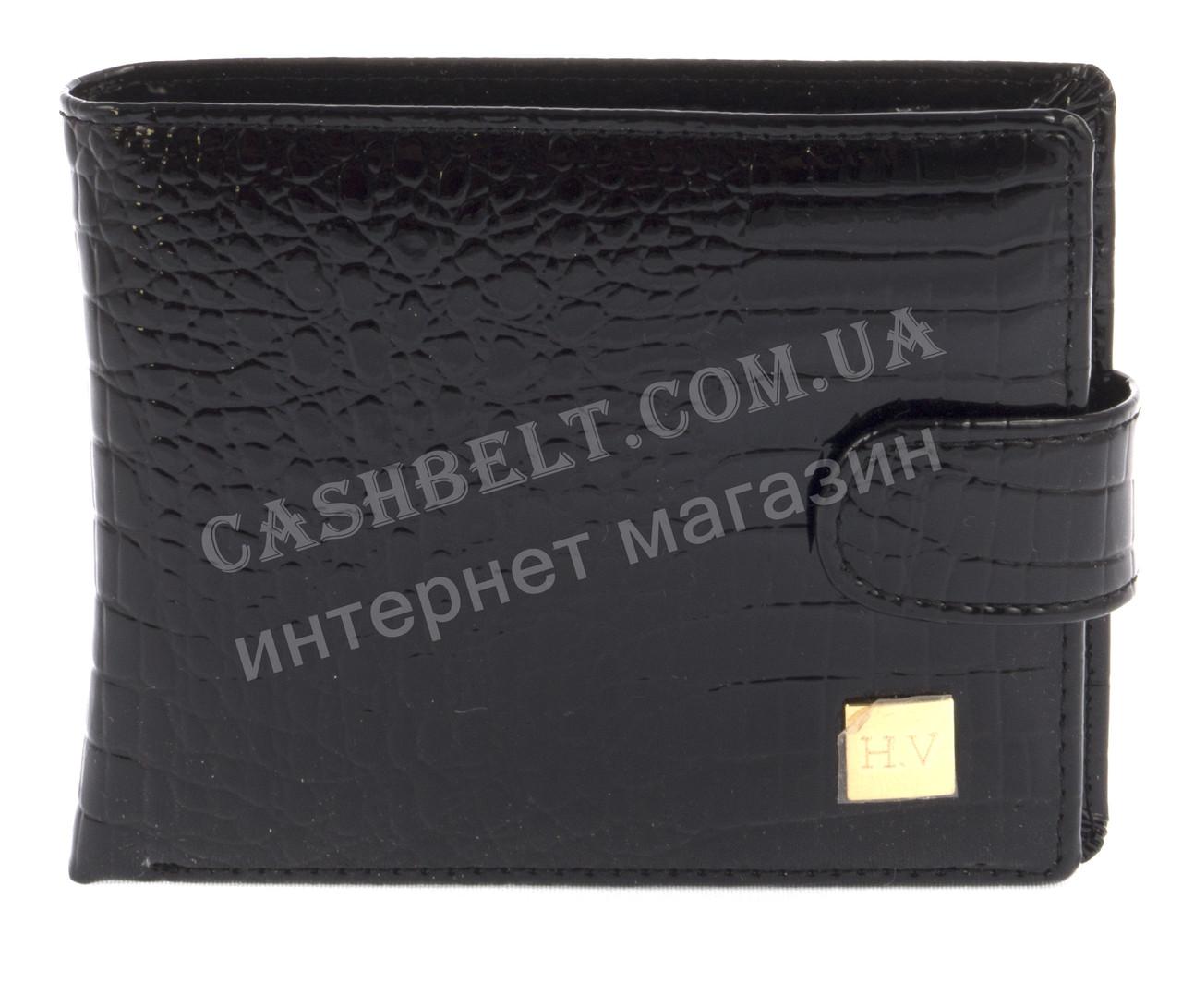 Небольшой шикарный женский кожаный тесненный кошелек высокого качества  H.VERDE art. 2173-67 черный лак