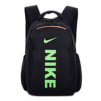 Городской рюкзак Nike черный с салатовым логотипом и надписью (реплика)