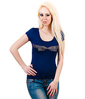 Футболка женская Кружево бант синяя, фото 1