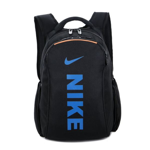 Городской рюкзак Nike черный с синим логотипом и надписью (реплика)