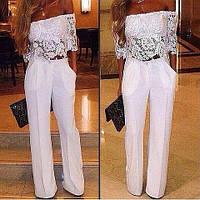 Женский костюм топом с ажурным и брюками