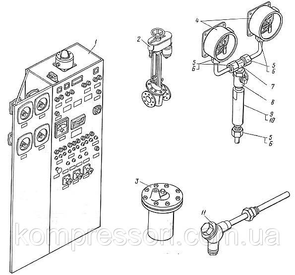 Элементы автомотизированных систем контроля, управления и защиты компрессоров 2ВМ10-63/9 и 4ВМ10-120