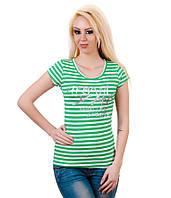 Футболка женская в зеленую полоску