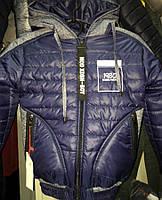 Куртка для мальчика синего цвета с капюшоном 41337