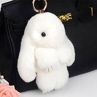 Брелок кролик белый из натурального меха