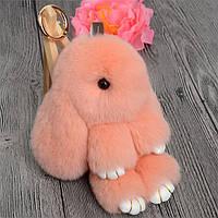 Брелок кролик персиковый из натурального меха