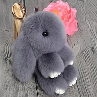 Брелок кролик серый из натурального меха