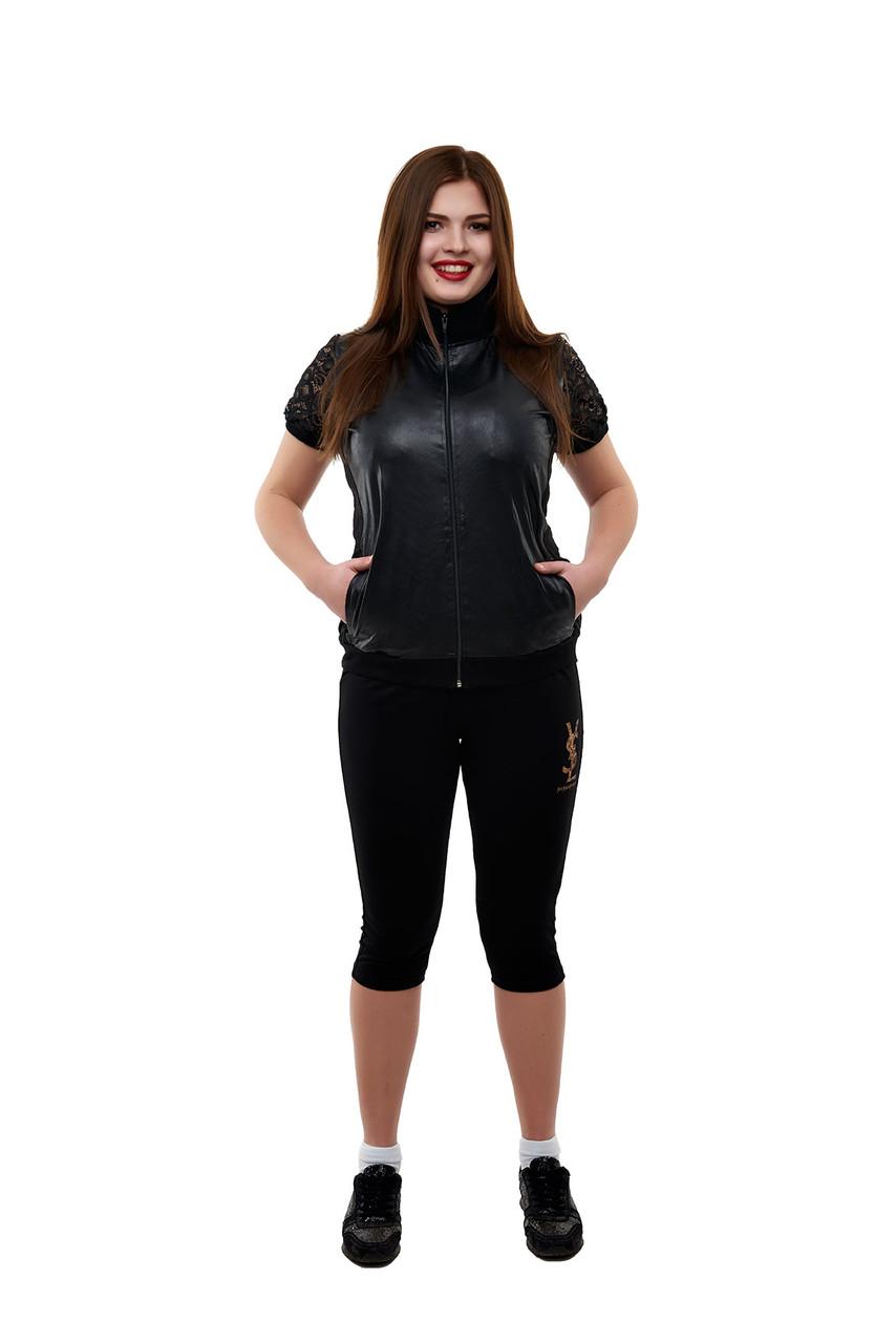 Женский летний, черный костюм из эко-кожи и трикотажа, с коротким рукавом и бриджами