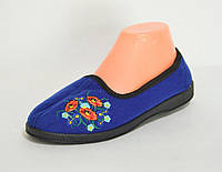 Домашние женские тапочки (синие вышивка) Украина