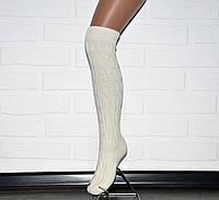 Белые женские гетры с носком, гольфы до колена