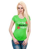Футболка женская с сердечками салатовая, фото 1
