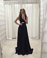 Шикарное вечернее платье (длина в пол, отделка из дорогого кружева расшитого бисером на поясе, декольте)