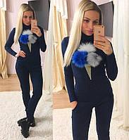 """Стильный трикотажный женский костюм """"Пломбир"""" (брюки, кофта-гольф, длинные рукава, бубоны писец) РАЗНЫЕ ЦВЕТА!"""