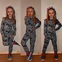 Очаровательный детский костюм для девочки (трикотаж турецкая двунитка, отделка рибана, пояс на резинке)