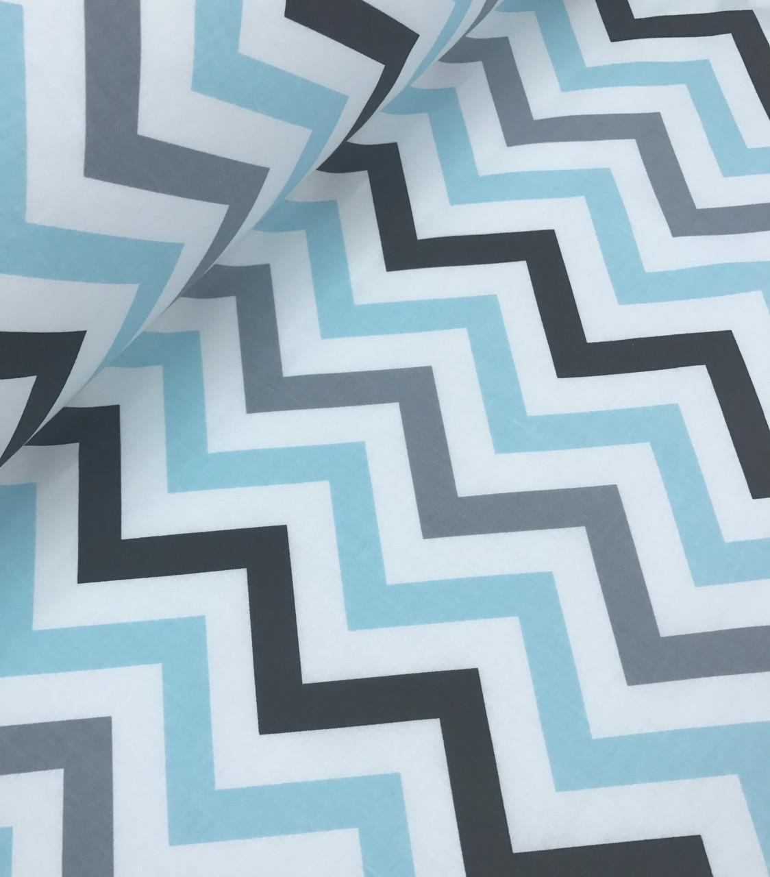 Хлопковая ткань Люкс польская зигзаг светло-бирюзово - серый