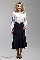 Стильная  темно-синяя юбка батального размера  2006 Seventeen  52-58  размеры