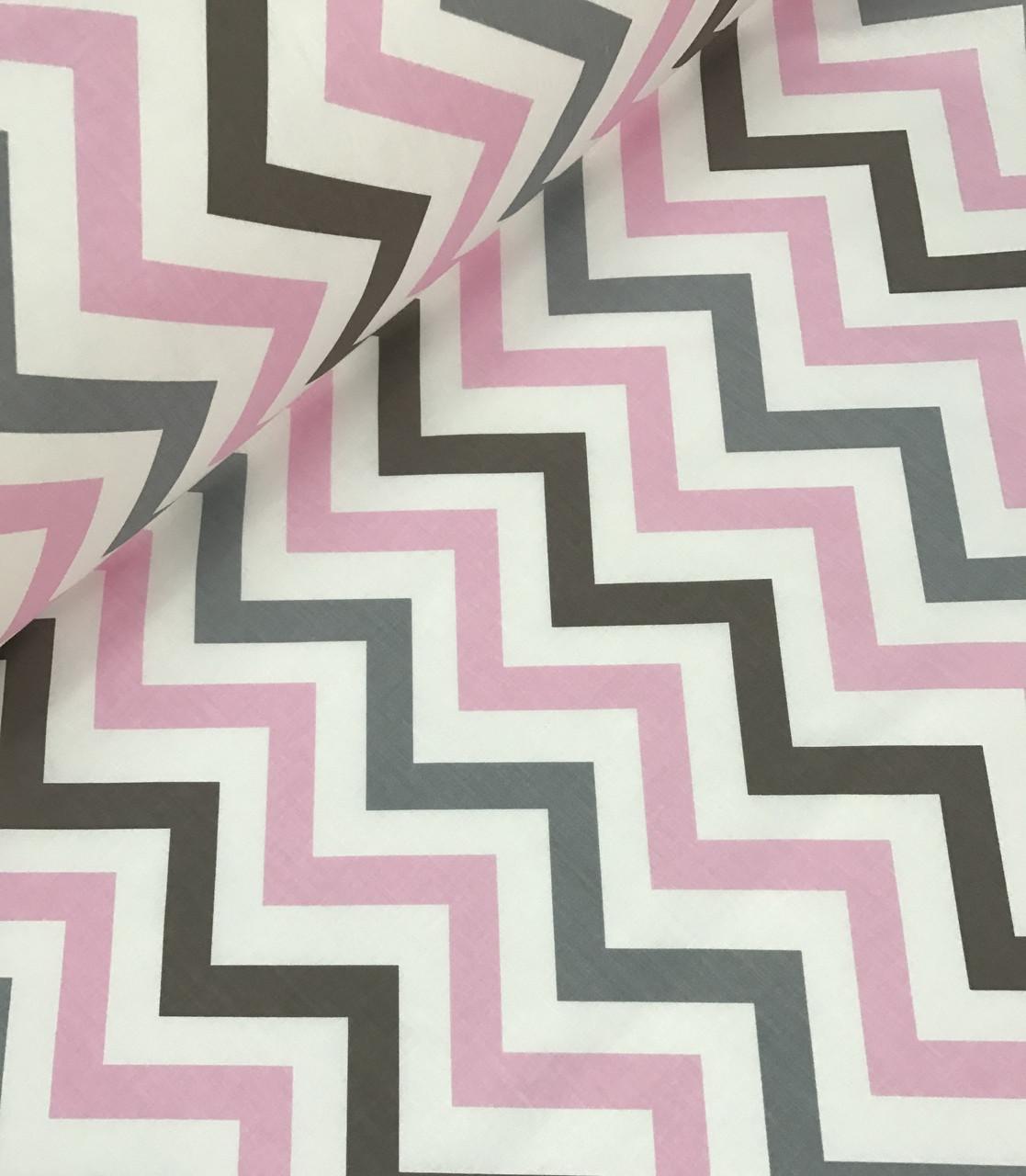 Хлопковая ткань польская зигзаг розово - серый