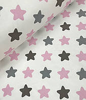 Хлопковая ткань польская звезды розово - серые
