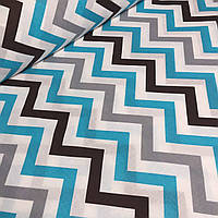 Ткань бязь польская  с зигзагом серого,черного и бирюзового цвета №527