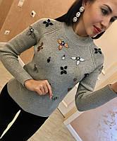 """Красивый, женский свитер """"Цветы из камней"""" (шерсть + ангора + спандекс) Фабричный Китай! РАЗНЫЕ ЦВЕТА"""