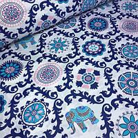 Ткань хлопковая польская  с индийскими мотивом и слонами №528