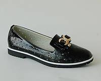 Туфли школьные лаковые для девочек с кожаной ортопедической стелькой черные р.31,33,34