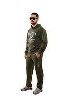 Хаки Хит этой весны, мужской спортивный костюм из 100% хлопкового трикотажа