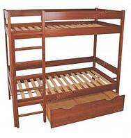 Кровать двухъярусная деревянная МАЛЬВА с ящиком (80х190 см)
