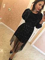 """Бархатное, женское платье модного фасона """"С прозрачной, длинной юбкой"""" фабричный Китай! РАЗНЫЕ ЦВЕТА"""